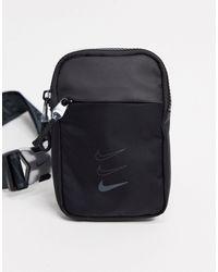 Nike Черная Сумка Через Плечо С Фирменным Принтом На Ремешках -черный Цвет
