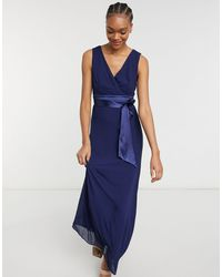 TFNC London Темно-синее Платье Макси Для Подружки Невесты С Глубоким Вырезом И Бантом На Спине -темно-синий