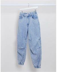 Bershka – Jeans mit Ballonbeinen - Blau