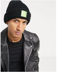 Bershka Thick Patch Beanie - Black