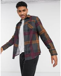 Brave Soul Large Check Flannel Shirt - Grey