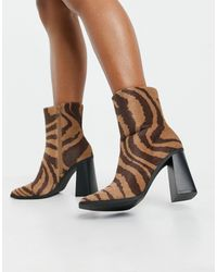 Monki Robbie Vegan Leather Zebra Print Boots - Black