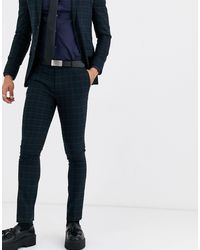 TOPMAN Super Skinny Suit Trousers - Green