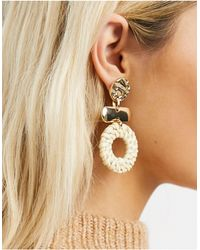 Warehouse Mismatch Round Woven Drop Earrings - Natural