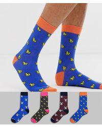Jack & Jones 4 Pack Duck And Dog Print Socks - Blue