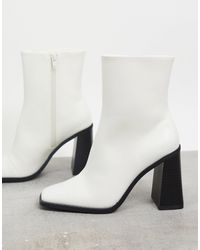 Monki Robbie Faux Leather Heeled Boot - White