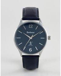 Barbour - Bb079blbl Jesmond Leather Watch In Navy - Lyst