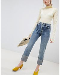 ASOS Florence Authentic Straight Leg Jeans In Oxford Wash With Deep Turn Up - Blue