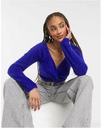 Threadbare Sasha - maglione corto soffice con incrocio sul davanti - Blu