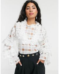 Sister Jane Blouse With Ruffle Detail In Sheer Organza Check - White
