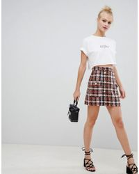 7ca12ea616d ASOS Asos Design Petite Boucle Check Double Breasted Mini Skirt With ...