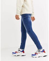 Mennace Jean skinny - délavé moyen - Bleu