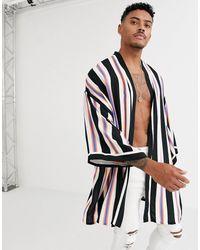 ASOS Kimono In Neon Stripe - Black