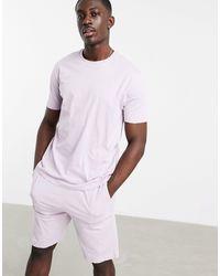 ASOS Ensemble pyjama confort avec t-shirt et short - Lilas - Bleu