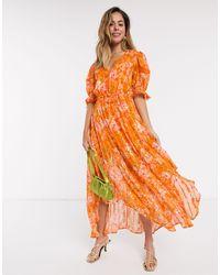 RahiCali Rahi Positano Bella Hankie Hem Floral Midi Dress - Orange