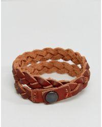Jack & Jones - Plaited Leather Cuff - Lyst