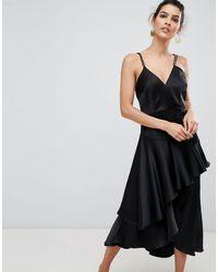 Y.A.S Ruffle Side Cami Mini Dress - Black
