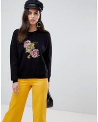 Liquorish - Tiger And Flower Embroidered Jumper - Lyst