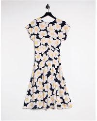 Warehouse Платье Миди С Цветочным Принтом Nicky-многоцветный - Синий