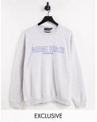 New Girl Order Exclusive Miami Beach Oversized Sweatshirt - Grey