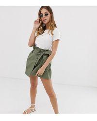 Boohoo Exclusive Tie Side Skirt In Khaki - Green