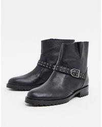 Karen Millen Casual Flat Moto Boots - Black