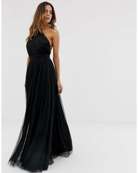 ASOS One-shoulder Tulle Maxi Dress - Black