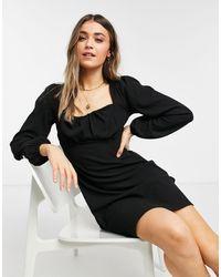 New Look Черное Платье Мини Со Сборками На Лифе -черный Цвет