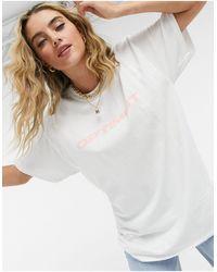 New Girl Order Oversized T-shirt With Optimist Slogan - White