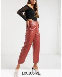 Fashion Union Брюки Из Искусственной Кожи С Завышенной Талией -оранжевый Цвет - Красный