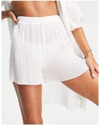 4th & Reckless Plisse Beach Shorts - White