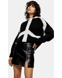 TOPSHOP Croc Effect Faux Leather Zip Mini Skirt - Black