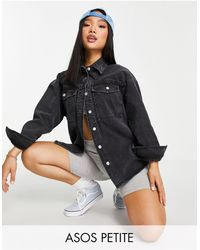 ASOS Asos Design Petite Denim Oversized Shacket - Black