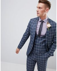 ASOS - Wedding Skinny Suit Jacket In Blue And White Check - Lyst