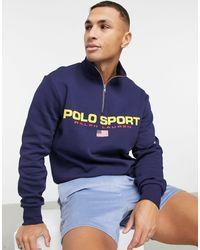 Polo Ralph Lauren Темно-синий Флисовый Свитшот С Короткой Молнией Sport Capsule