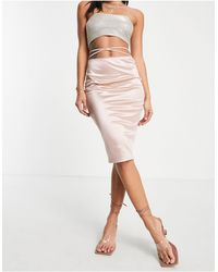 Flounce London Satin Midi Skirt With Strap Details - Pink