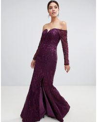 Bariano - Sweetheart Neck Lace Maxi Dress In Plum - Lyst