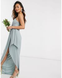 TFNC London - Bridesmaid Exclusive Bandeau Wrap Midaxi Dress With Pleated Detail - Lyst