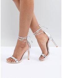 True Decadence Silver Ankle Tie Heeled Sandals - Metallic