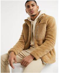 TOPMAN Светло-бежевая Куртка Из Искусственного Меха -коричневый