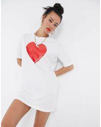 Love Moschino Heart Logo T-shirt Dress - White