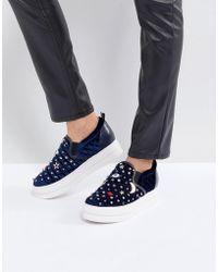 Essentiel Antwerp Pulse Velvet Moons & Stars Flatform Shoes - Blue