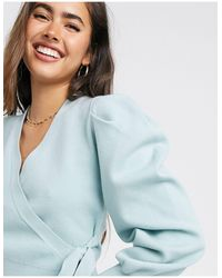 Fashion Union Wrap Front Ballet Cardigan With Balloon Sleeves-green - Blue