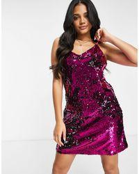 DKNY Cami Sequin Dress - Purple