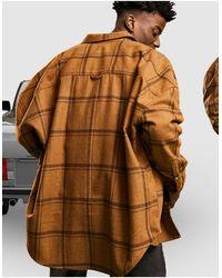 ASOS - Коричневая Объемная Рубашка Навыпуск В Крупную Клетку Из Ткани С Добавлением Шерсти - Lyst