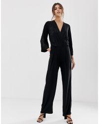 Y.A.S Satin Wrap Jacquard Floral Wide Leg Jumpsuit - Black
