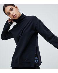 NA-KD Embroidered Logo High Neck Sweatshirt - Black