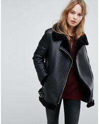 New Look Куртка Из Искусственной Замши На Меховой Подкладке -черный