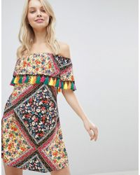 Glamorous - Off Shoulder Printed Dress With Tassels - Lyst