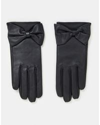 ASOS Leather Gloves With Touch Screen And Bow Detail - Black